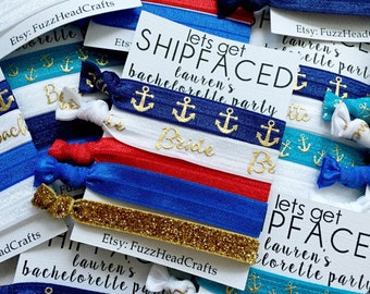 """personalized """"let's get SHIPFACED"""" hair ties or headbands - bachelorette - nautical - shipface - party favor - gift - bridesmaid gift"""