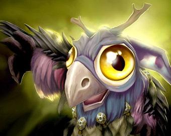 Cute Moonkin Hatchling World of Warcraft companion fanart photo print