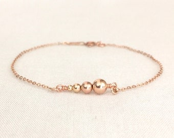 Rose Gold Unsymmetrical Beaded Bracelet, Four Sisters, Four Best Friend, Best Friend Gift, Simple Bracelet, Delicate Bracelet, Sister Gift