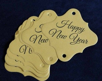 36pc Gold Happy New Years Sparkler Tags