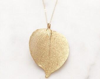 AUTUMN | Gold Dipped Leaf Necklace | Leaf Necklace | Gold Leaf Necklace | Fall Accessories | Real Leaf Necklace | Real Gold Dipped Leaf