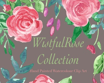 Wistful Rose Hand Painted Watercolour Floral Clip Art Collection