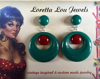 Vintage inspired two-tone earrings, hoops in the 40s, 50s style, Bakelite style