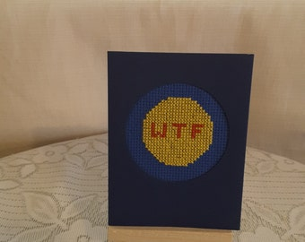 cross stitched emojji card