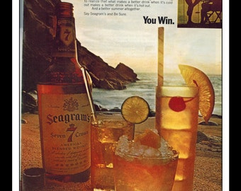 "Vintage Print Ad August 1969 : Seagram's 7 Crown Whiskey Wall Art Decor 8.5"" x 11"" Advertisement"