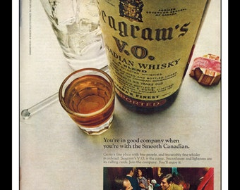 "Vintage Print Ad October 1969 : Seagram's V.O. Crown Whiskey Wall Art Decor 8.5"" x 11"" Advertisement"