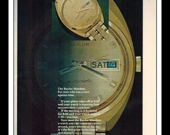 "Vintage Print Ad November 1968 : Baylor Watch Zales Jewelers Wall Art Decor 8.5"" x 11"" Print Advertisement"