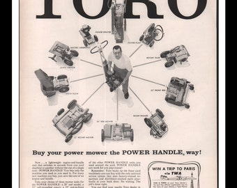 "Vintage Print Ad May 1957 : Toro Lawn Mowers Electronics Wall Art Decor 10.25"" x 13.75"" Advertisement"