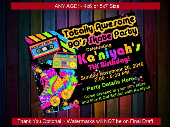 Birthday party invitation 90s theme party custom printable for 90 s party decoration ideas