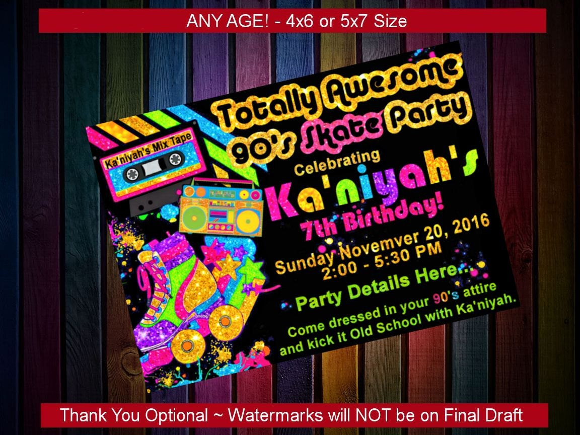 Birthday party invitation 90s theme party custom printable for 90s decoration