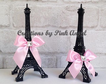 """6"""" Cake Topper Eiffel Tower, Black and Pink Eiffel Tower Topper, Black Paris Cake Topper, Paris Eiffel Tower Favors, 1 Tower Included"""