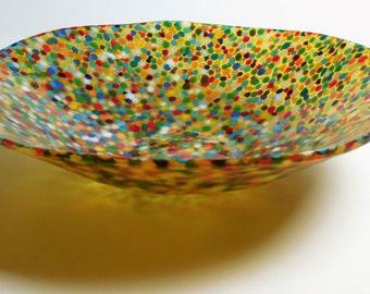 "A fused glass bowl ""Sunny Meadow""; Lightweight; Skittles; Original technique; Flare; Organic shape; Deep bowl"