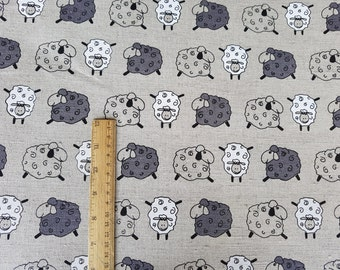 """Linen fabric by the meter, linen fabric with sheeps, flax fabric, grey linen by the yard, 150cm 59"""" animal print linen fabric, sheeps print"""