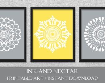 Printable Art, Yellow and Gray Art, Set of 3 Prints, Bedroom Art, Printable Wall Art, Digital Download Art, Set of 3 Wall Art, Bathroom Art