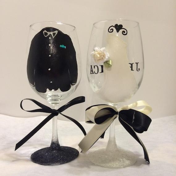 Custom wedding glasses painted wine glasses personalized wedding