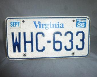 Vintage 1986 Virginia License Plate