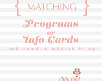Matching Programs or Info Cards (Printable)