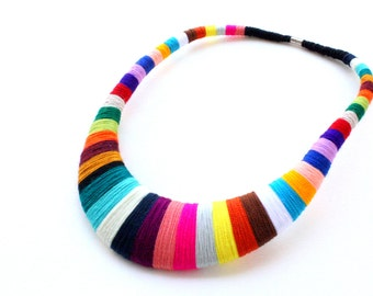 Agatha Statement necklace, Statement Necklace, Tribal Necklace, Thread Wrapped Necklace, Collar necklace, necklaces
