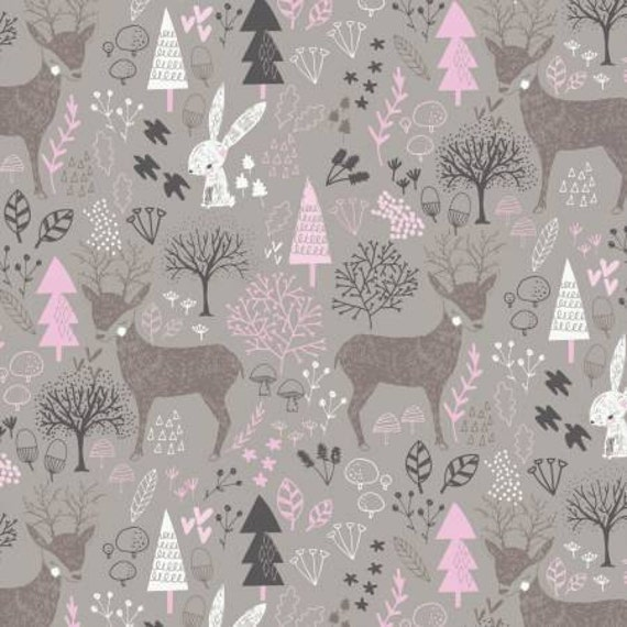 Pink gray woodland nursery cotton fabric hello my deer for Children s clothing fabric by the yard