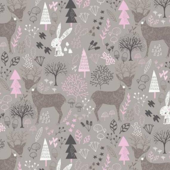 Pink gray woodland nursery cotton fabric hello my deer for Nursery cotton fabric