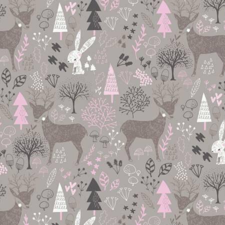 Pink gray woodland nursery cotton fabric hello my deer for Pink nursery fabric