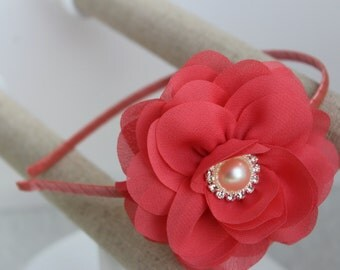Coral girls headband, coral headbands, coral flower girl headbands, toddler headbands, coral wedding headbands, coral metal headbands