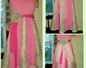 Bohemian Skirt, Shabby Chic, Granny Chic, Glamourous Skirt, UPcycled Clothing, Gypsy Skirt, Pink Skirt