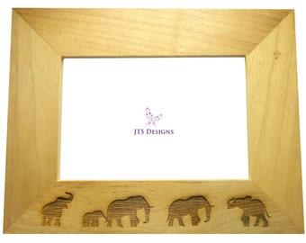 "Elephants Design Engraved Wooden Photo Frame - Holds Landscape 6 x 4"" Pictures"