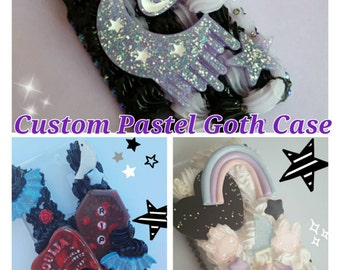 Custom whipped pastel goth decoden case