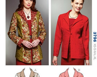 Kwik Sew sewing pattern K3796 Wing Collar Jackets, 2 Styles, Misses, Womens, Teen Girls - new and uncut