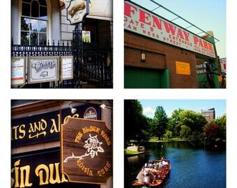 Boston Cityscape Custom Tile Photo Coasters