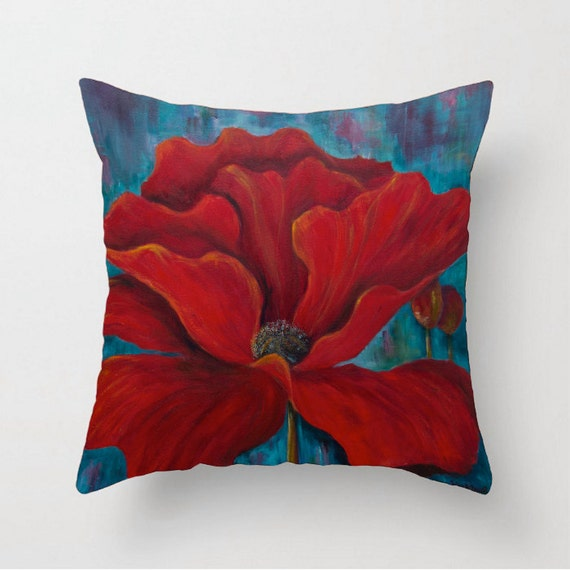 Red throw pillow Pillow cover Sofa pillow Poppy pillow Couch