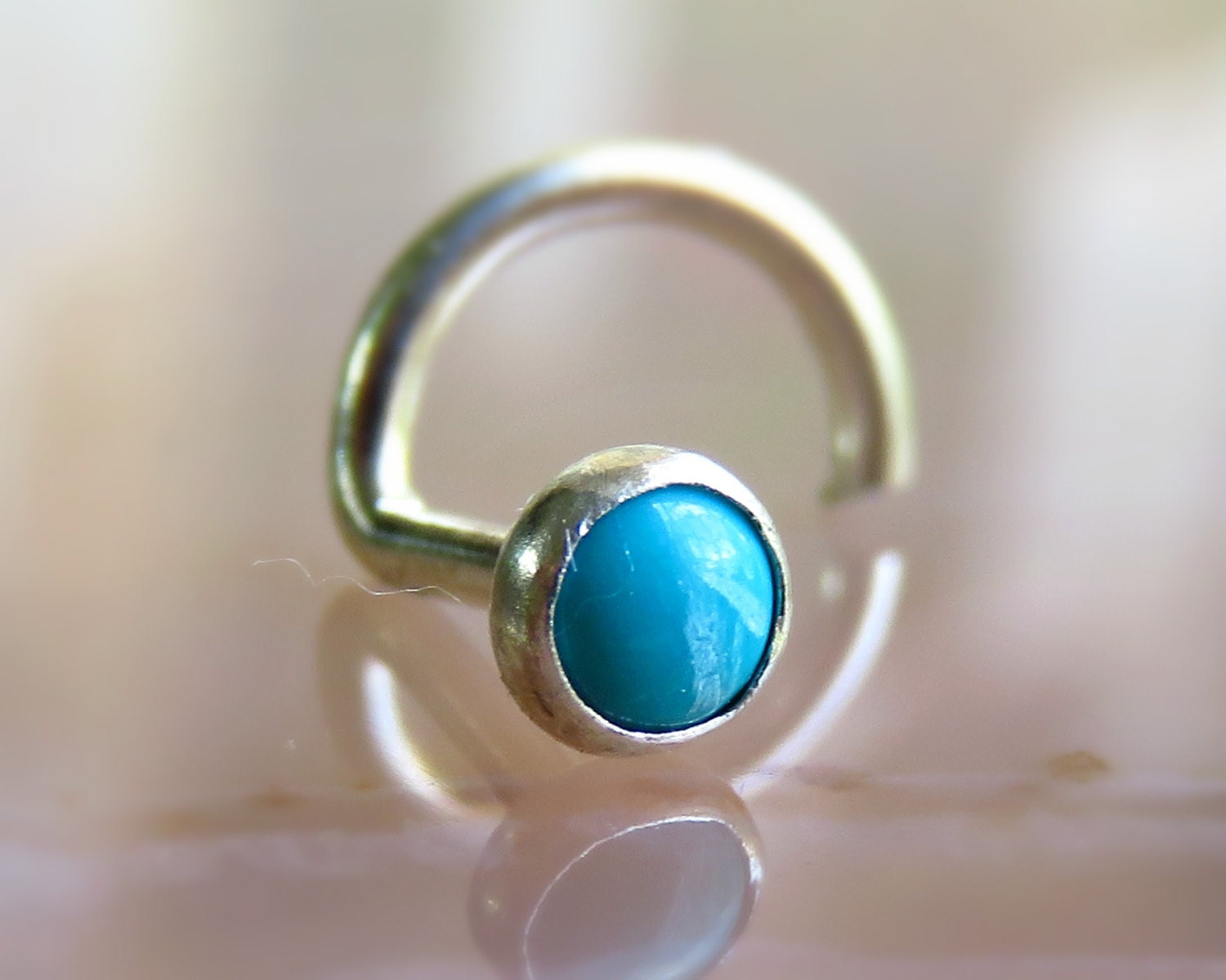 tiny gemstone nose stud turquoise nose ring turquoise nose
