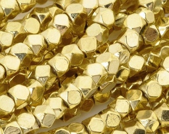 Over 50% off retail 24 inch strand of 3mm cornerless cube gold-plated brass beads .