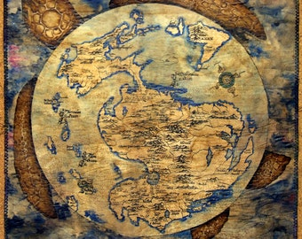 MTO Big, handdrawn, disc map. Imitates parchment. Fully handmade.