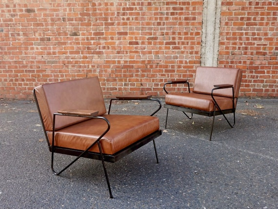 Mid Century style iron lounge chairs by FandFVintage on Etsy