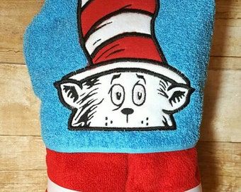 The Cat in the Hat Dr Seuss Hooded Towel with FREE Embroidered Name