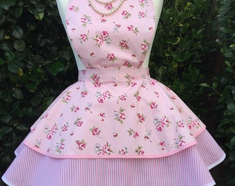 Afternoon tea, Pale pink 2 tier vintage style apron