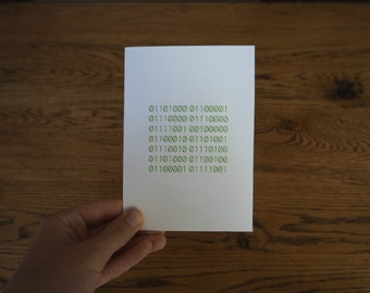 Binary Custom Message Happy Birthday Code QR Hidden Message Secret Customisable Greeting Card