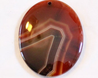 Banded Dream Agate Oval Focal Bead 49mm x 38mm x 6mm F60209