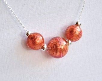 Murano Glass Rubino Pink and Gold Bead Necklace Sterling Silver