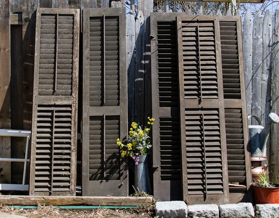 Antique louvered shutter with orginal hardware by lloydstreasures for Hardware for exterior shutters
