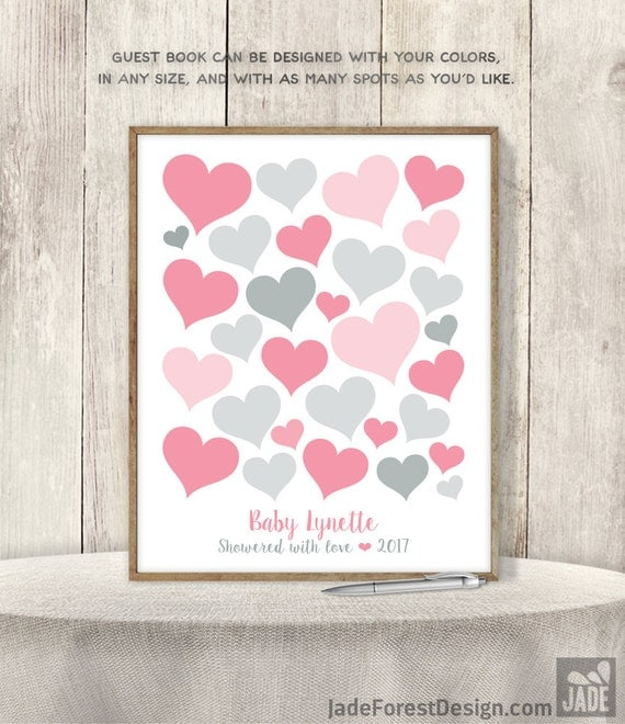 pink guest book alternative poster baby shower sign in pink and