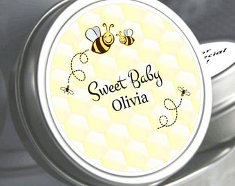12 Sweet as can Bee Personalized Baby Shower Mint Tins - Baby Shower Favors - Baby Shower Decor - Baby Shower Favors - Baby Mints