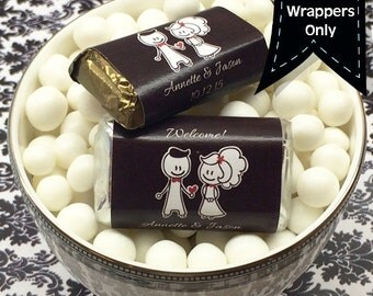 Personalized Hershey's Miniatures Chocolate Wrappers - Wedding Decor - Wedding Miniature Wrappers - Mini Wrappers - Bridal Showers, Weddings