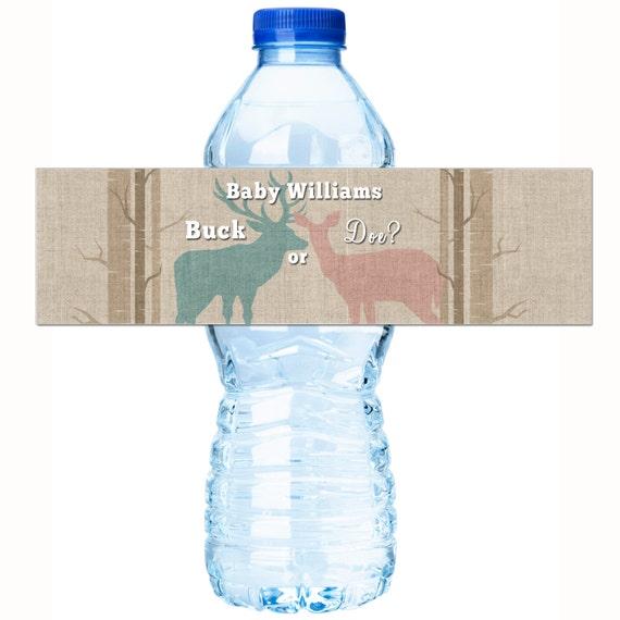 Gender Reveal Water Bottle Labels Buck Or Doe Gender