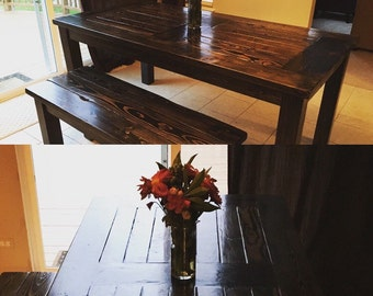 Rustic Parsons Farmhouse Style Hardwood Dining Table 6 person table and TWO bench set
