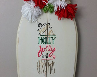 Holly Jolly Christmas hand painted sign