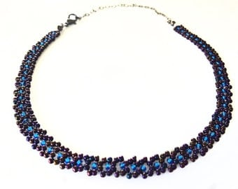 Burgundy and Blue Glass Beaded Choker