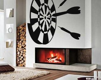 Wall Vinyl Sticker Decals Mural Room Design Decor Darts Target Game Play Fun Sport mi089